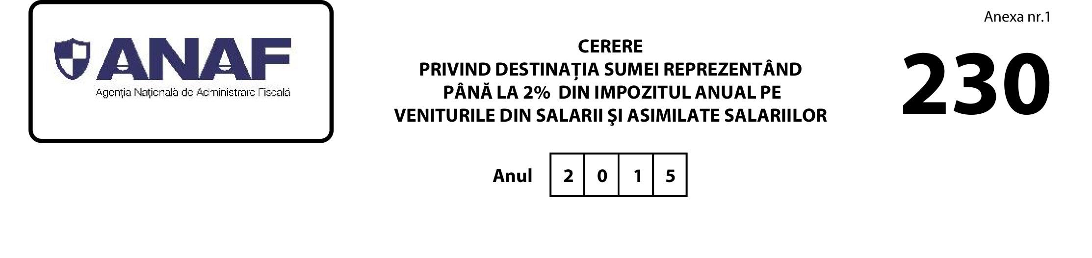 Formular 230 ANAF 2016  –  2% pentru Rădăuți